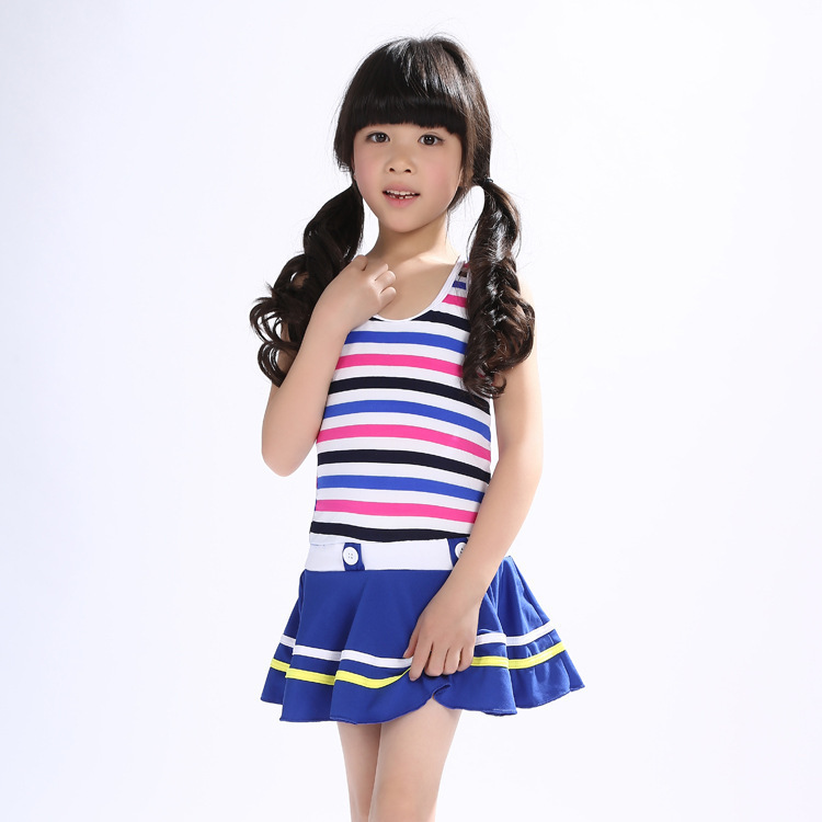 Manufacturers GIRL'S KID'S Swimwear Navy Style Bathing Suit Skirt Siamese Swimsuit Middle And Large GIRL'S Swimsuit 8-12-Year-Ol