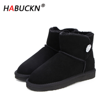 HABUCKN 2020 new Australia Women Snow Boots Cowhide Leather Ankle Boots Warm Winter Boots Woman shoes large size black shoes habuck women australia classic style snow boots winter warm genuine leather warterproof high quality ankle boots large size