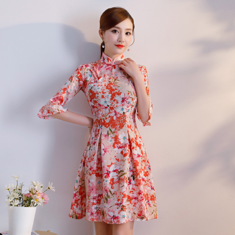 2018 Spring And Summer New Style Faille Bell Sleeve Chiffon Cheongsam Dress-Style Slimming Daily Life Cheongsam Dress