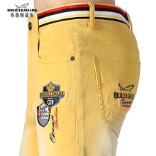 NEW Summer Thin Stretch Loose Men Jeans Embroidery Design Straight Casual Fashion Denim Yellow Jeans Soften Cotton size 28-42