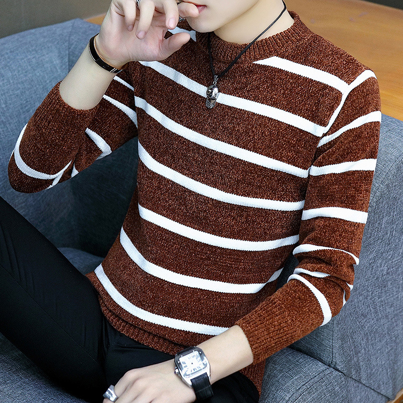 Vogue Of New Fund Of 2019 Autumn Round Collar Stripe Sweater Youth Recreational Sweater