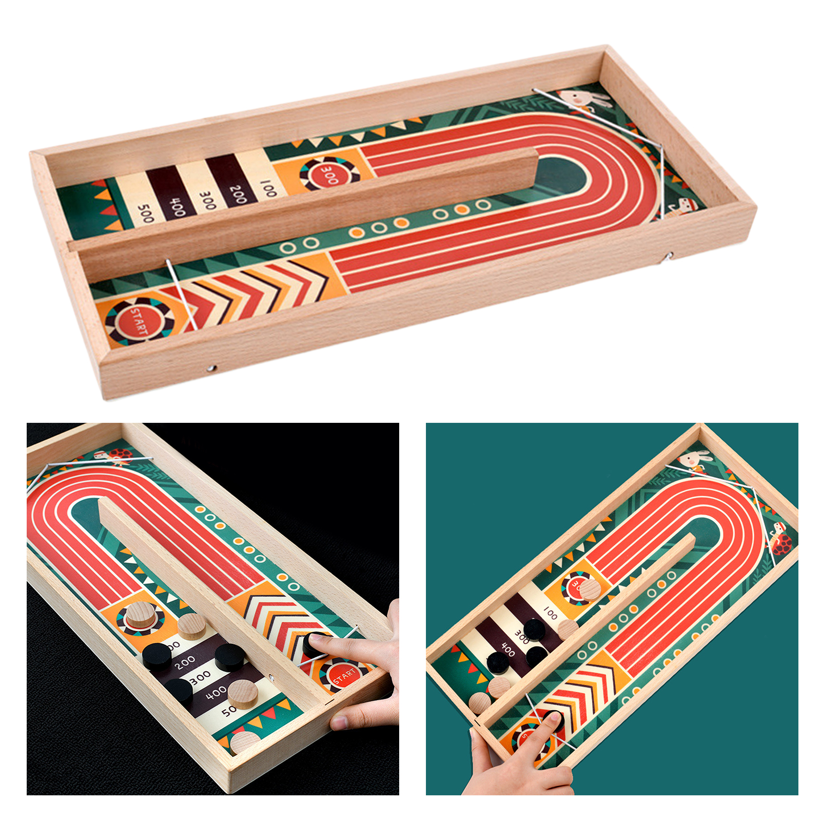 Wood Fast Sling Puck Game Large Size Table Battle Board Game Toy Age 7+