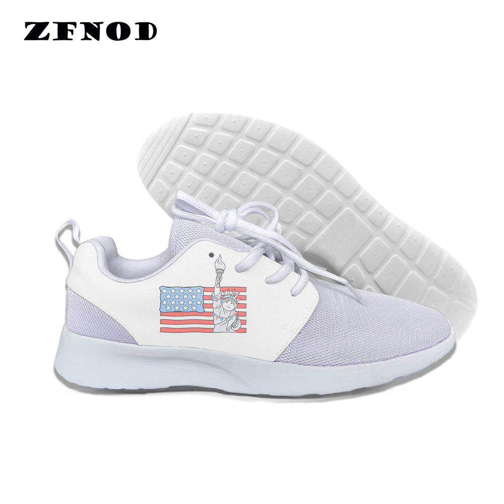 Canvas Shoes Platform Women Flats Fashion Cartoon American Lace-Up Flag-Patterns