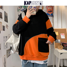 Pullover Men Oversized KAPMENTS Hoodies Pocket Sweatshirts Male Patchwork Mens Streetwear