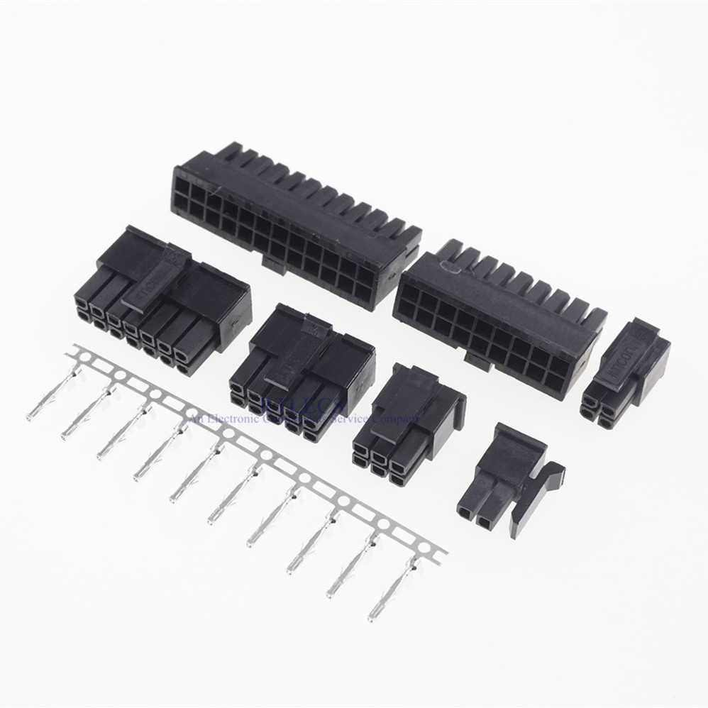 10sets 3.0mm Micro-Fit 3.0 Connector Receptacle Housing 2 Pin 4 6 8 10 12 14 16 18 20 22 24 P Male shell + Terminal Molex 43030