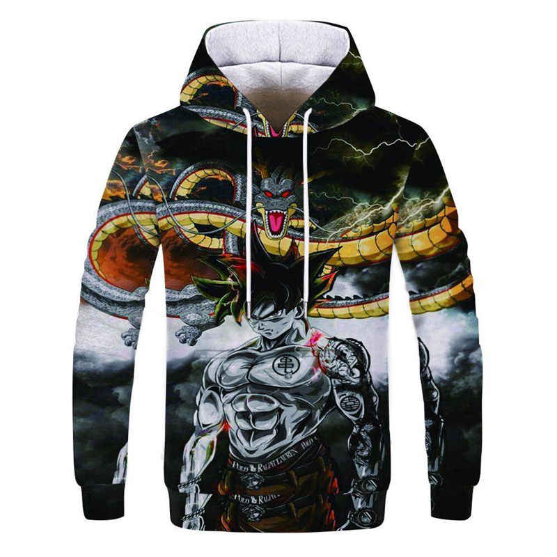 2019 Anime Dragon Ball Super Hoodie Male 3D Sweatshirts Super Saiyan Goku Printed Outwear Teen Boy Cartoon Hoody Pullover
