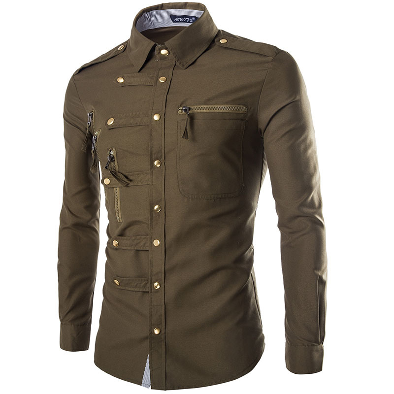 2020 New Men's Long Sleeve Shirt Military Style Fashion Cool Trend Snap Slim Shirt Casual Workwear Top Casual Shirts