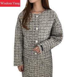 2 stück Set Frauen Winter Warm Echte Schafe Wolle Kaschmir Mäntel Anzug Wolle Elegante Schwarz Plaid Kleid Rock Frauen Oversize mantel
