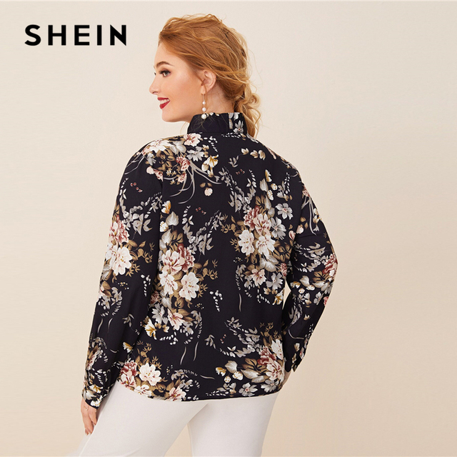 SHEIN Plus Size Navy Tie Neck Botanical Print Top Women Autumn Solid Elegant Office Lady Womens Plus Tops and Blouses 2