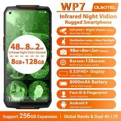 OUKITEL WP7 6,53 дюймFHD 19,5: 9 Android 9,0 MT6779 Octa Core 9V/2A 8000 мА/ч, 48MP камеры 8 Гб 128 инфракрасный Ночное видение мобильный телефон