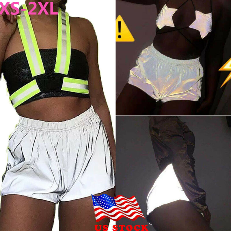 Summer Women Casual  Fashion Sexy Club Shining Reflective Shorts Elastic Waist Sport Short Hot Plus Size XS-2XL