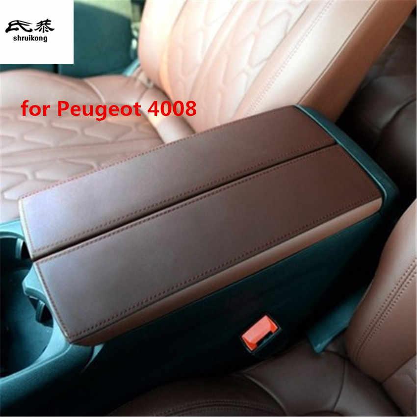 1Set Auto Sticker Voor 2016-2018 Peugeot 4008 5008 Microfiber Leer Auto Accessoires Armsteun Doos Bescherming Cover