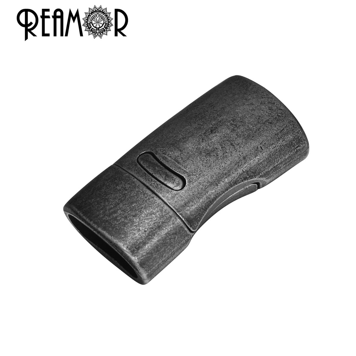 REAMOR Retro Black 316l Stainless Steel 10*5mm Oblate Embedded Magnetic Clasp For DIY Leather Bracelet Buckle Jewelry Findings
