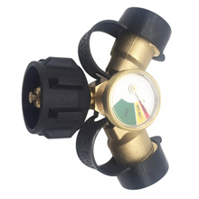 QCC Gas Propane Adapter Y-Type Three-Way Brass Valve Accessories With Pressure Gauge