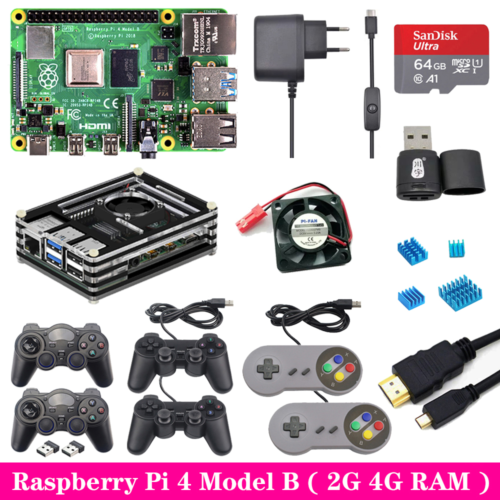 <font><b>Raspberry</b></font> <font><b>Pi</b></font> <font><b>4</b></font> <font><b>2GB</b></font> 4GB RAM Game kit with USB Gamepad Joystick Acrylic Case SD Card Power Supply for <font><b>Raspberry</b></font> <font><b>Pi</b></font> <font><b>4</b></font> <font><b>Model</b></font> <font><b>B</b></font> <font><b>Pi</b></font> 4B image