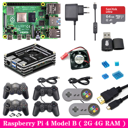 Raspberry Pi 4 2GB 4GB RAM Game kit with USB Gamepad Joystick Acrylic Case SD Card Power Supply for Raspberry Pi 4 Model B Pi 4B