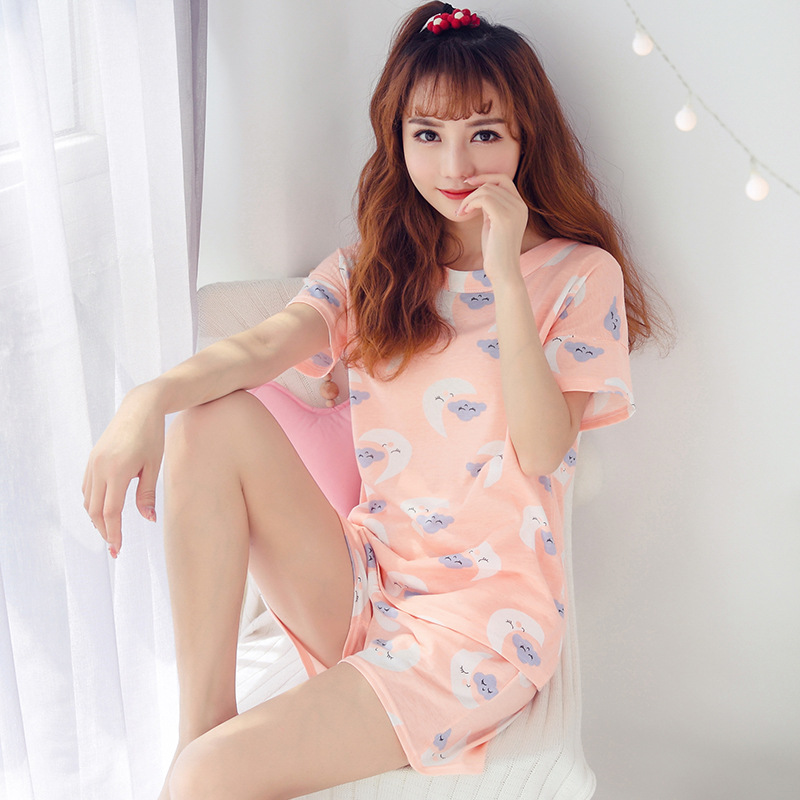 (According To Feminine) Summer Short-sleeved Pajamas Homewear Set Women's Summer M-XXL 140 Grams Qmilch 9.5 Yuan