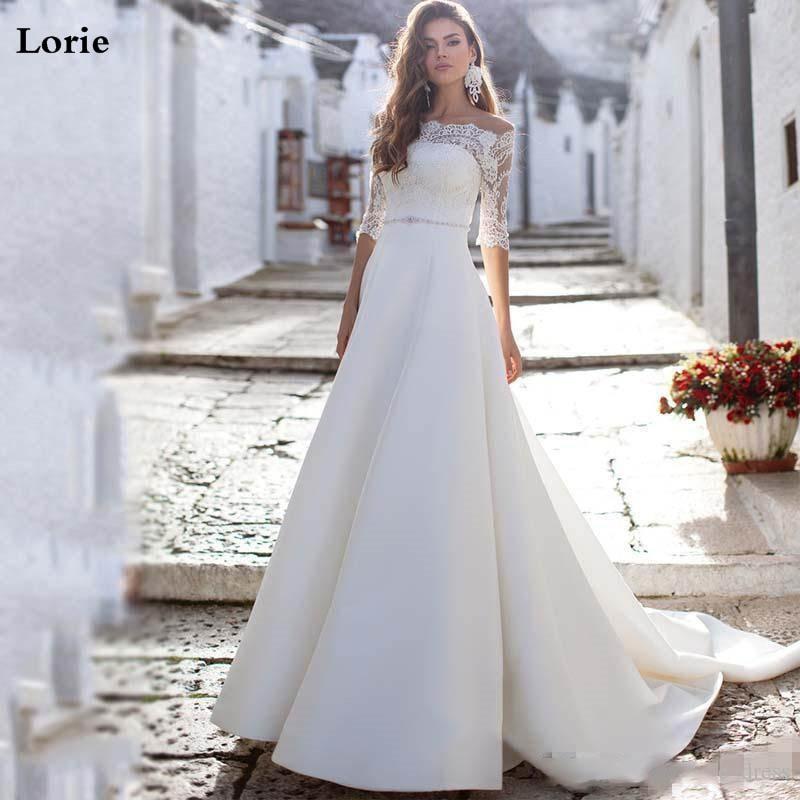 Lorie Wedding Dresses 2020 Off The Shoulder Lace Bride Dresses Vestido De Novia Half Sleeve Boho Wedding Gown