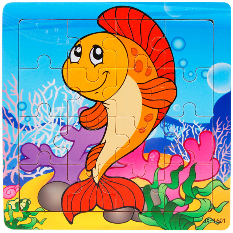 Wooden Educational Toys Baby Puzzle Marine Life Girls Boys Large Cartoon Puzzles For Kids Puzzles Jigsaw Board Children Toy Gift