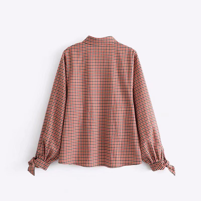 Sweatshirt Women Pullover Bow-Neck Plaid Patchwork Buttons Vintage Long Tops