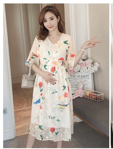 Robe enceinte à volants Floral robes de maternité pour Photo Shoot mousseline de soie robe de maternité vêtements de fête vêtements de maternité