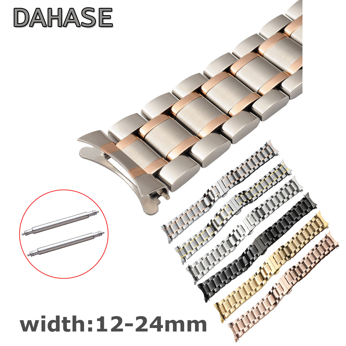 Stainless Steel Watch Band 12 14 15 16 17 18 19 20 21 22mm 23mm 24mm Curved End Watch Strap Butterfly Buckle Replacement Strap