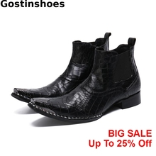 купить Men Boots Black Crocodile Pattern Printed Genuine Leather Men Short Boots Wing Tip Metal Cap Toe Pointed Men Ankle Boots Slip On по цене 6682.31 рублей