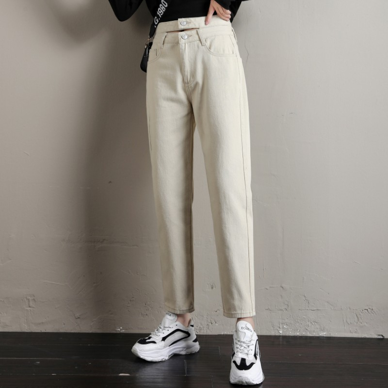 Casual Harem   Pants   2020 New Boyfriend Style Loose Students'   Capris     Pants   Hong Kong Style Double Button High Waist Leisure   Pants