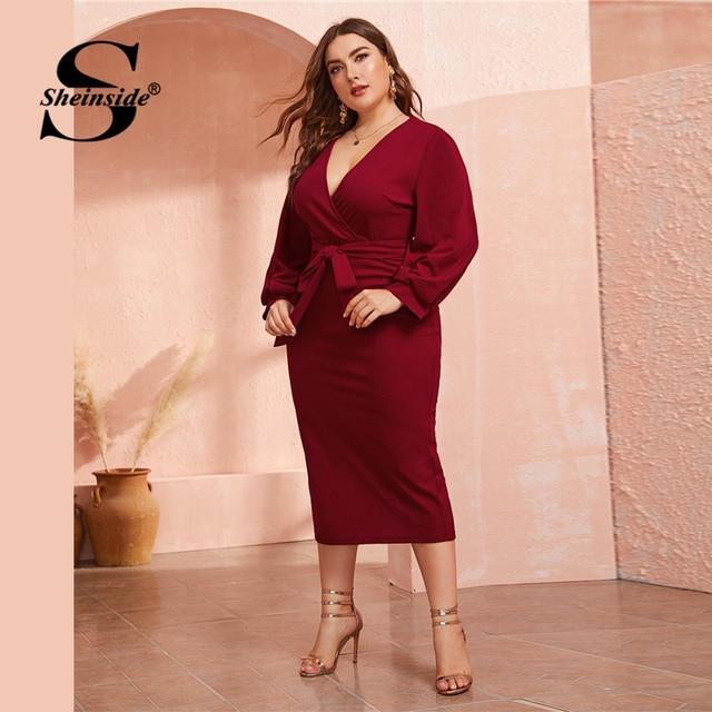 Sheinside Plus Size Deep V Neck Pencil Dress Women 2019 Autumn Lantern Sleeve Solid Midi Dresses Ladies Burgundy Belted Dress 2