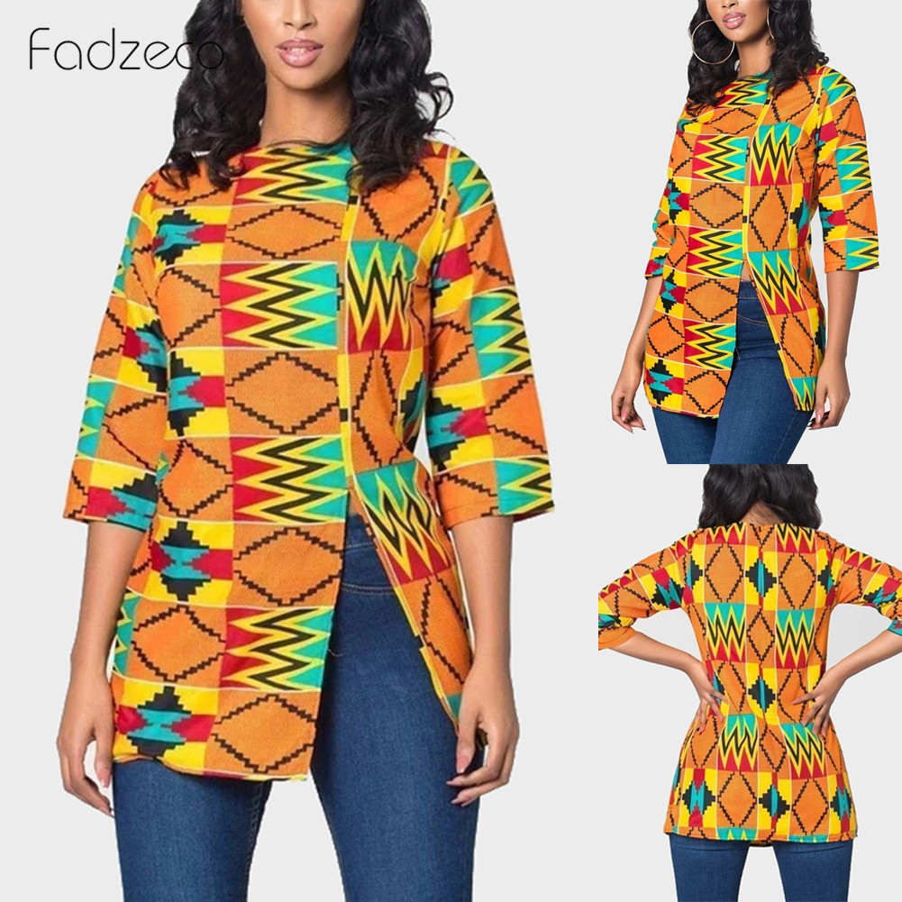 Женская одежда в африканском стиле Fadzeco, футболка с принтом в африканском стиле, рубашка с круглым вырезом и разрезом сбоку Африканская одежда      АлиЭкспресс