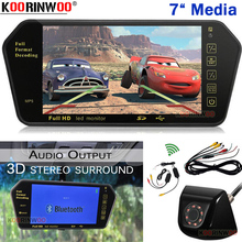 Koorinwoo 7 Inch Monitor with camera in car Car TV Mirror Support Rear view Camera Bluetooth MP5 Movie AV Video For DVD Player