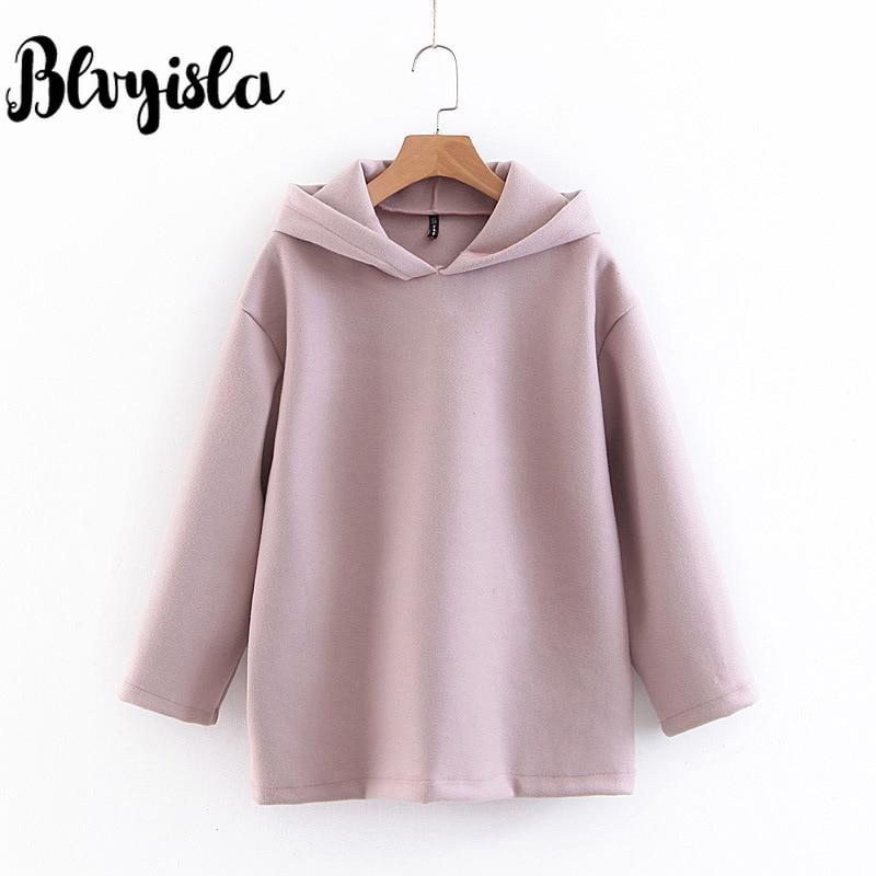 Blvyisla Sweet Student Winter Sweatshirts Girls Hoodies Oversize Pullovers Tops 2019 Chic Pure Color Sportwear
