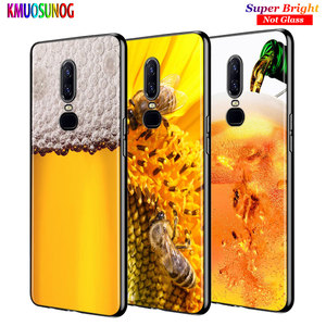 For OnePlus 7 7Pro Black Silicone Cover Honey bee Yellow honeycomb Back Cover For OnePlus 5 5T 6 6T Phone Case(China)