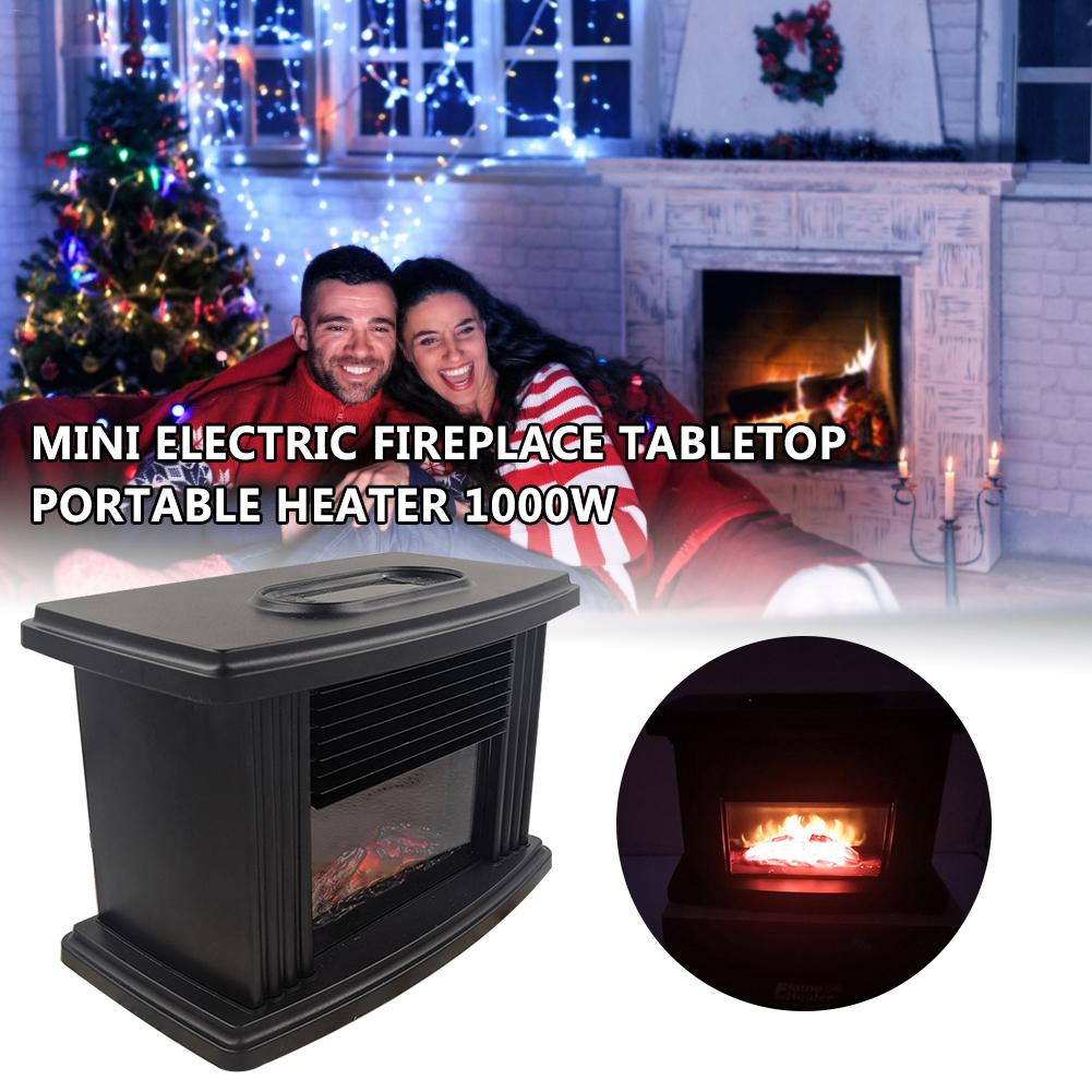 Electric Fireplace Heater Remote Control Tabletop Warmer Simulation Flame Heating Portable Mantelpiece Room Office Heating EU