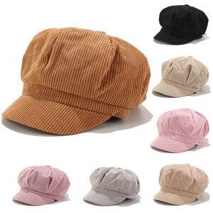 Women Vintage Bomber Hats Winter Solid Corduroy Casual Hat Beret Literary Retro Cap Korean Painter Newsboy Foldable Berets Beret