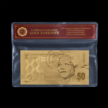 WR South Africa 50 NELSON Gold Foil Banknotes with PVC Holder Fake Money Dollars Non-currency Prop Money Gift for Men image