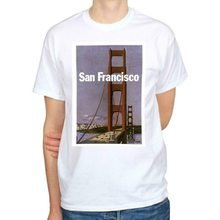 San Francisco Vintage Tourism Poster Golden Gate Bridge Men'S T-Shirt Size S-Xxl Vintage Tee Shirt(China)