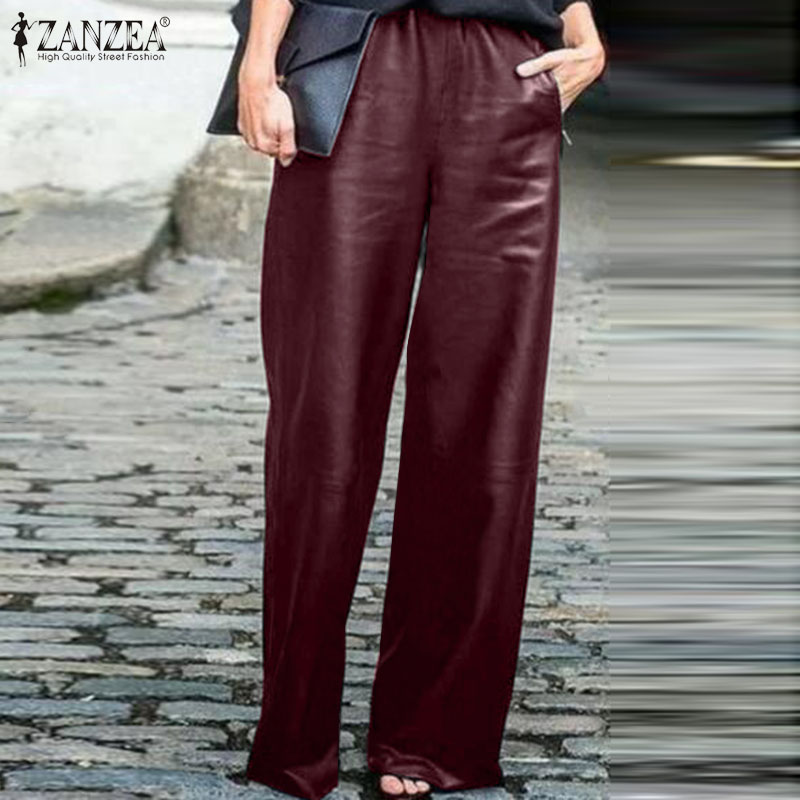 Fashion PU Leather Trousers Women Wide Leg Pants ZANZEA 2020 Casual Elastic Waist Long Pantalon Female Black Turnip Plus Size