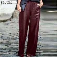 ZANZEA-pantalones de pierna ancha para mujer, pantalón largo, informal, con cintura elástica, color negro, de talla grande, 2021