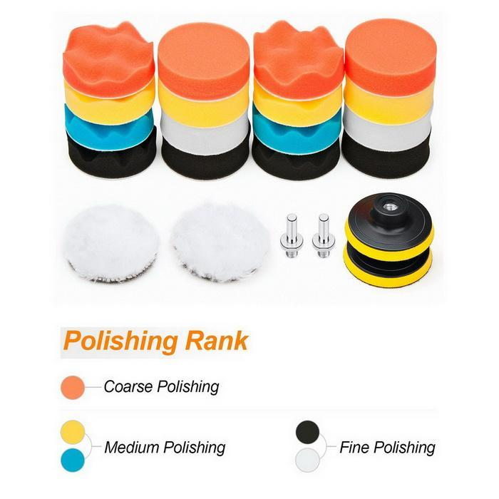 22 PCS Car Foam Drill Polishing Pad Kit 3 Inch Buffing Pads Portable LE #