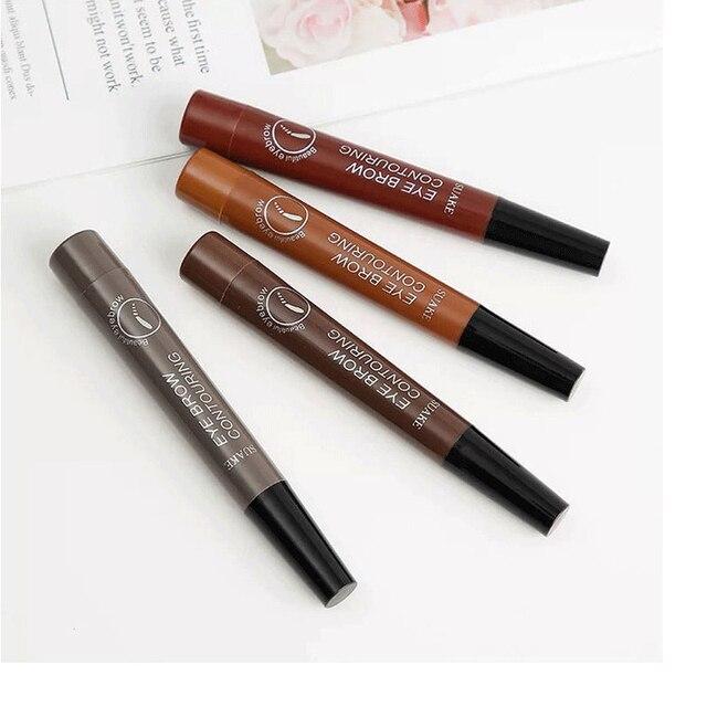 Makeup Fine Sketch Liquid Eyebrow Pen Waterproof Brow 4 Fork Tip Cosmetic Art Tint Eye Brow Pencil Microblading Tattoo Eyebrows 2
