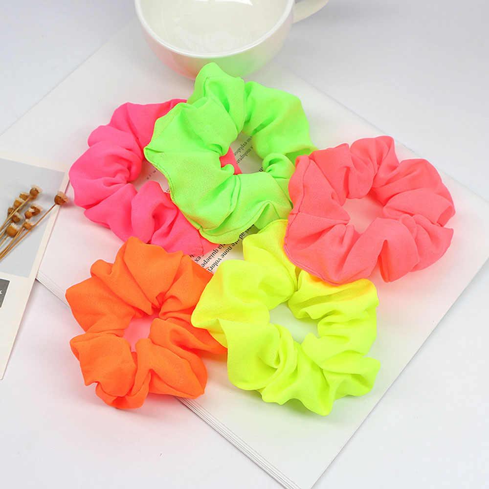 1PCS อุปกรณ์เสริมผม Neon Scrunchies ผมผูกผมหางม้าที่มีสีสันสีชมพูสีเขียวสีส้มสี Candy Bright เชือกผม