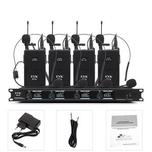 Image 5 - EYK EFU4, sistema de micrófono inalámbrico UHF de 4 canales, con 4 auriculares de bolsillo y micrófono de solapa, para karaoke de fiesta familiar en la iglesia