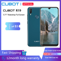 Смартфон Cubot R19, 5,71 дюйма, 3 + 32 ГБ, Android 9,0 Pie Helio A22, двойная камера 13 МП, Face ID, 4G LTE