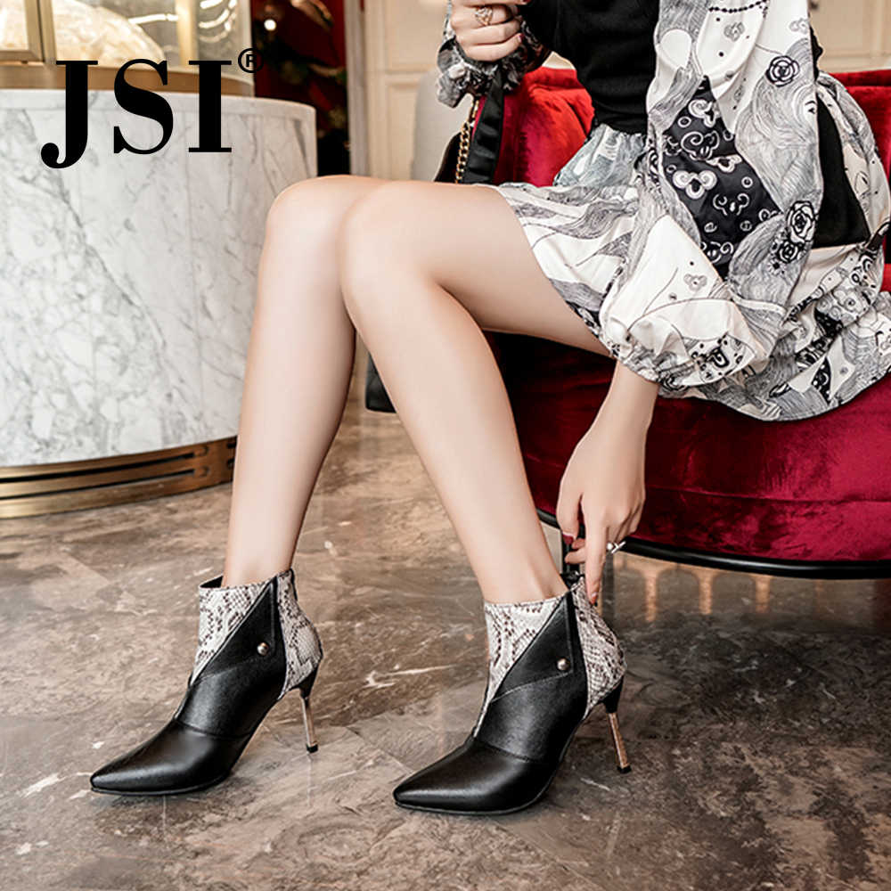 JSI Winter Women Boots Snake Print Mid-Calf Pointed Toe Handmade Thin Heel Super High Heel Zip Microfiber Basic Women Boots JE22