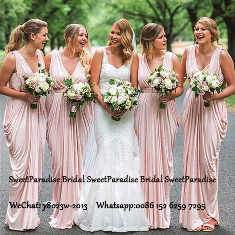 Pink Plunging Neck Bridesmaid Dresses For Women Sleeveless Long Pleat Sheath Party Wedding Guest Dress Party Gown