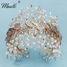 Miallo Bridal Pearl Tiaras and Crowns for Women Hair Accessories Wedding Rhinestone Hair Jewelry Party Headpiece Bridesmaid Gift