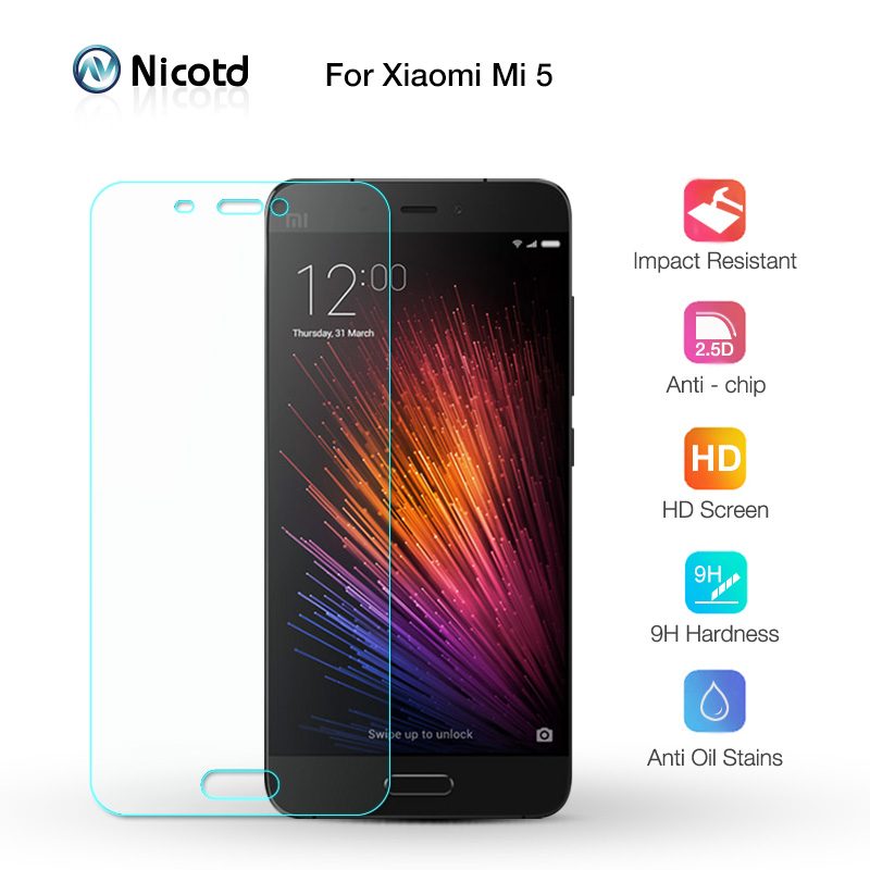 NicoTD 0.26mm 9H HD Tempered Glass For XiaoMi Mi5 Screen Protector Film XiaoMi Mi 5 No Fingerprint Frosted Glass Protective