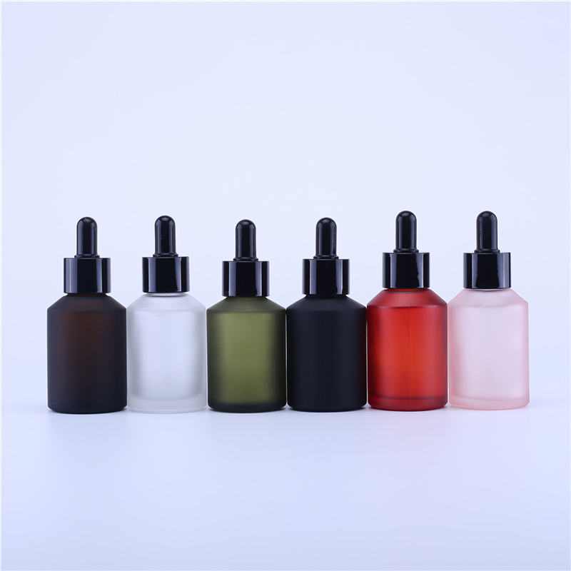 10PCS 60ml Luxury Empty Matte Frosted Cosmetic Packing Glass Dropper Bottle With Black Pipette For Oil
