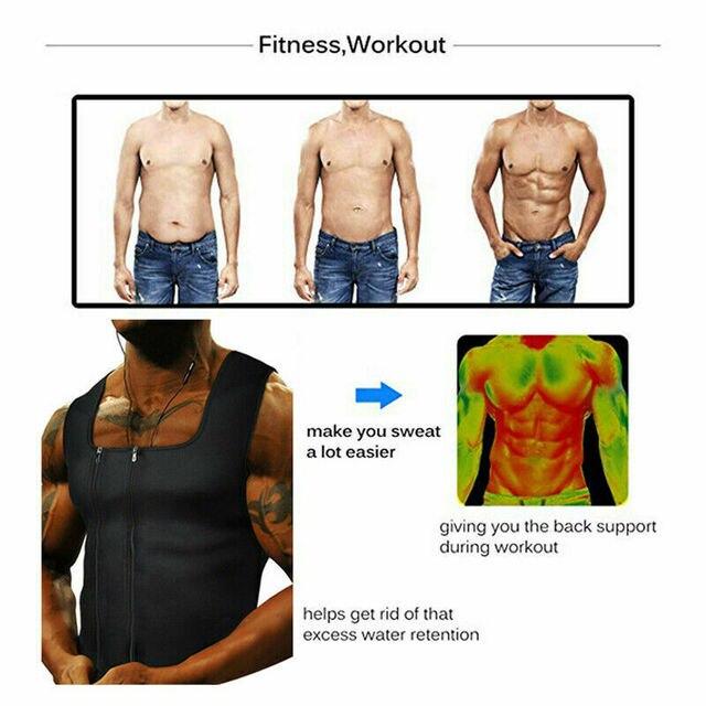 Men's Sweat Body Shaper Belt Belly Men Waist Trainer Zipper Vest Neoprene Top Tank Corset Body Shaper Sauna Slimming Shapewear 4